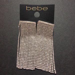 Bebe gold wide linear crystal earring